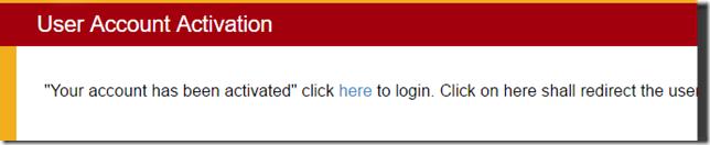 Account Activation Cofirmation