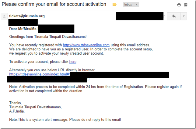 Account activation email link
