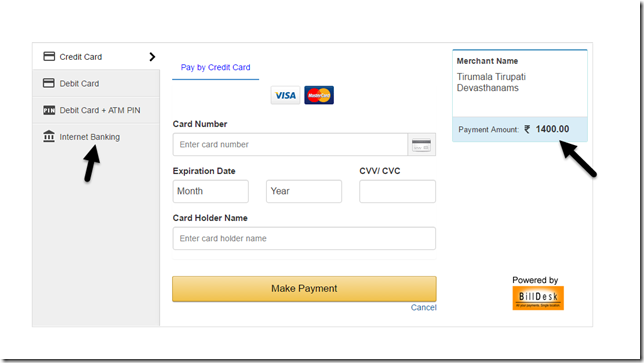 Payment Options - TTD Darshan Booking