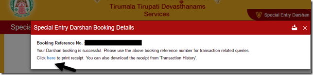 Confirmation of Darshan Tickets