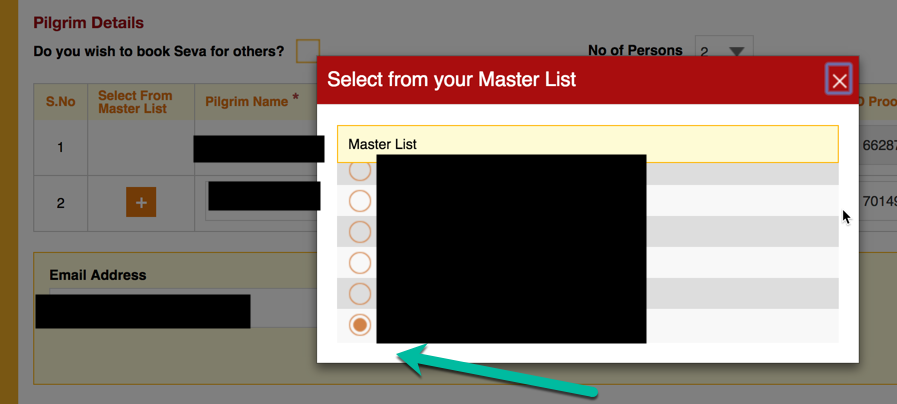 Select from Master List of Piligrims