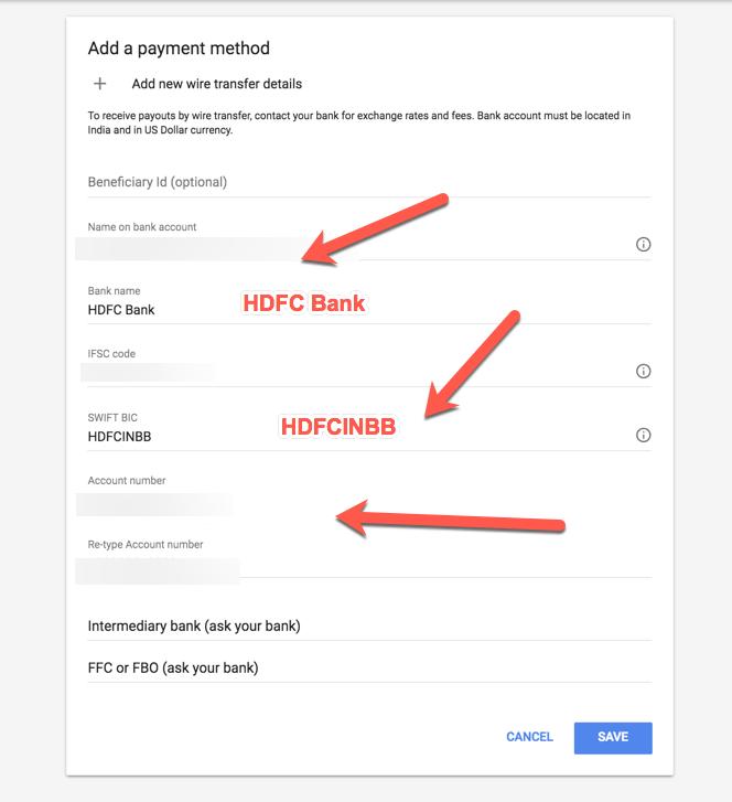 HDFC Bank Payment Details Adsense SWIFT Code