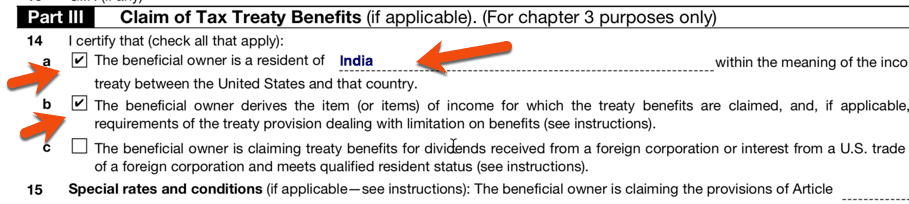 Claim of Tax Treaty Option for W8BEN form Instructions