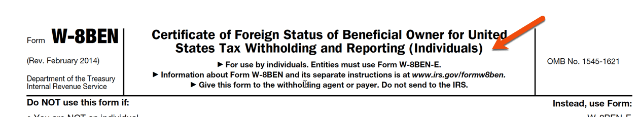 W-8BEN-E form for Individuals