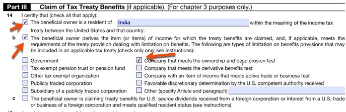 Claim of Tax Treaty benefits W8BEN E form 14b option selection.