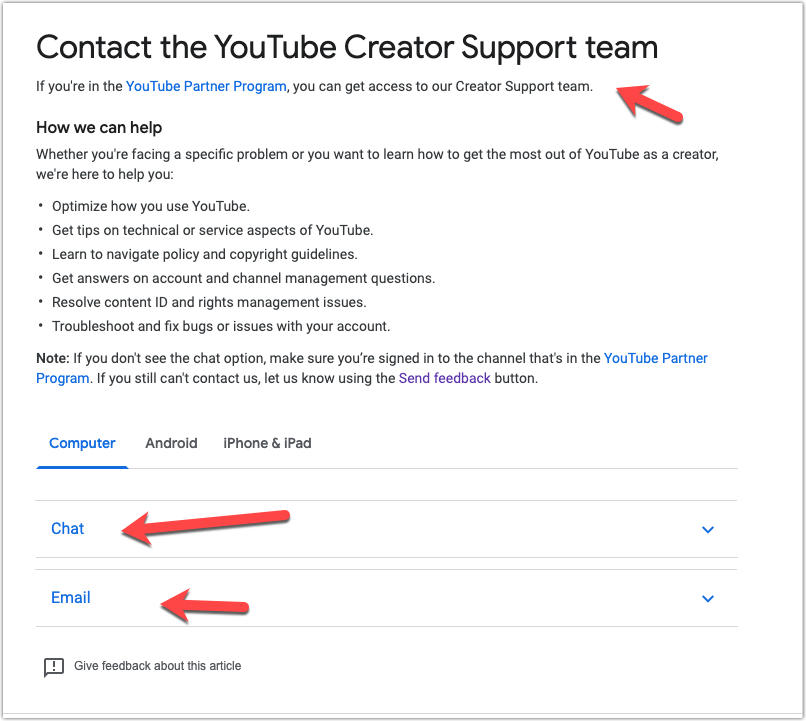 Contact options for Youtube team - chat and email