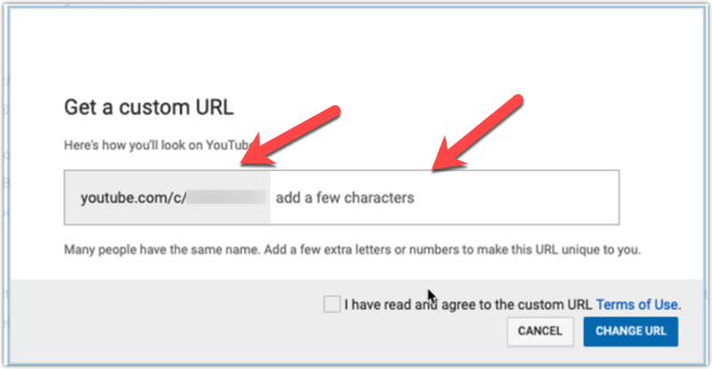 Youtube asking for adding extra characters