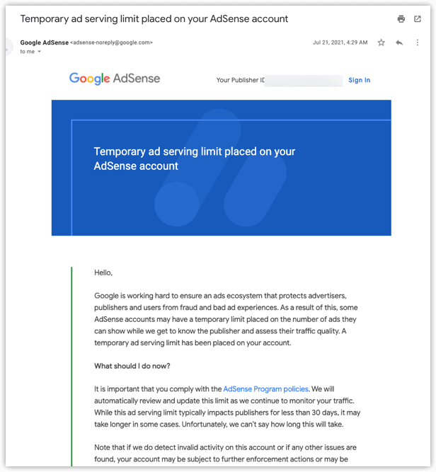 Email Temporary Ad Serving Limit Placed on your Adsense Account